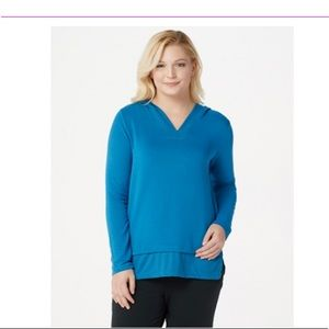 Cuddl Duds Blue Ultra Soft Comfort Hooded Tunic